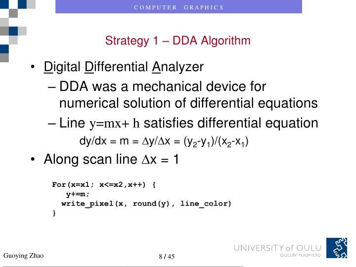 Strategy 1 – DDA Algorithm