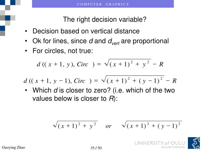 Decision based on vertical distance