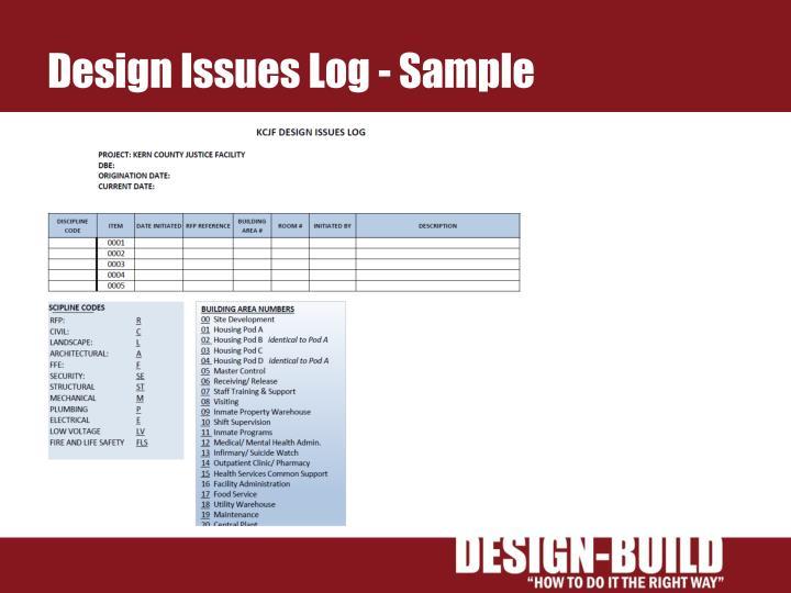 Design Issues Log - Sample