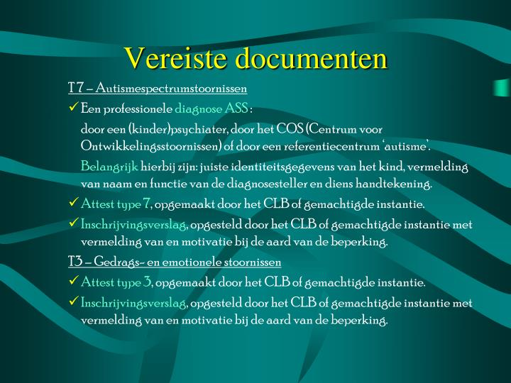 Vereiste documenten