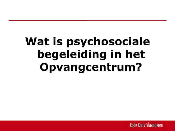 Wat is psychosociale begeleiding in het Opvangcentrum?