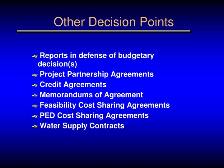 Other Decision Points