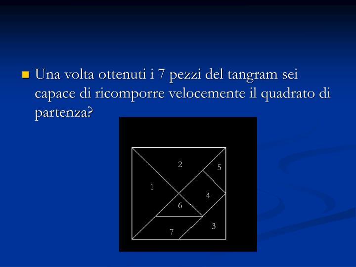 Una volta ottenuti i 7 pezzi del tangram sei capace di ricomporre velocemente il quadrato di partenza?