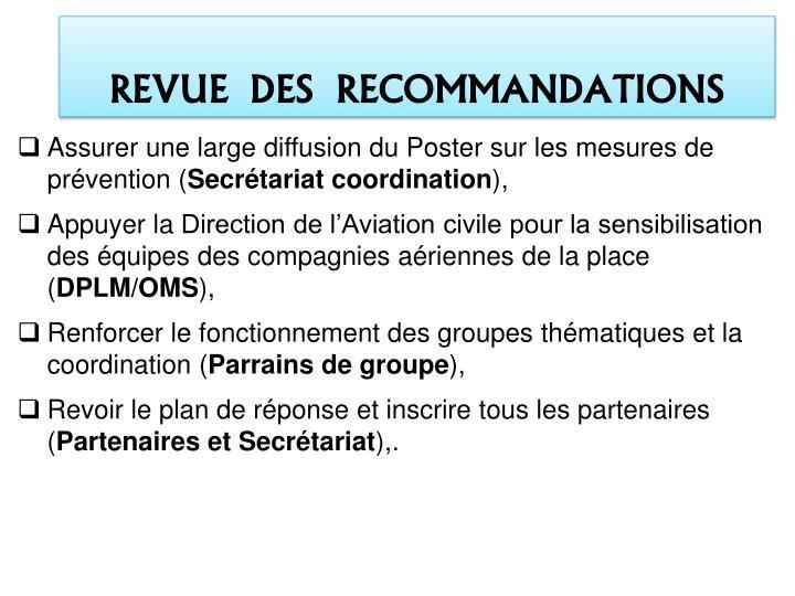 REVUE  DES  RECOMMANDATIONS