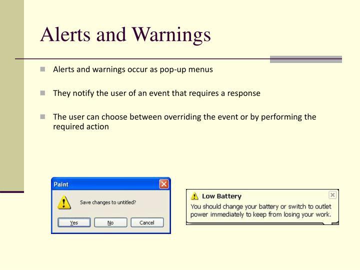 Alerts and Warnings