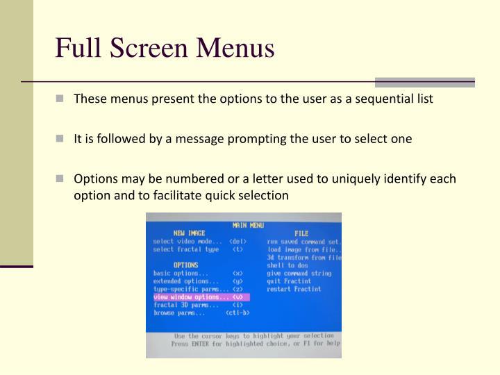 Full Screen Menus