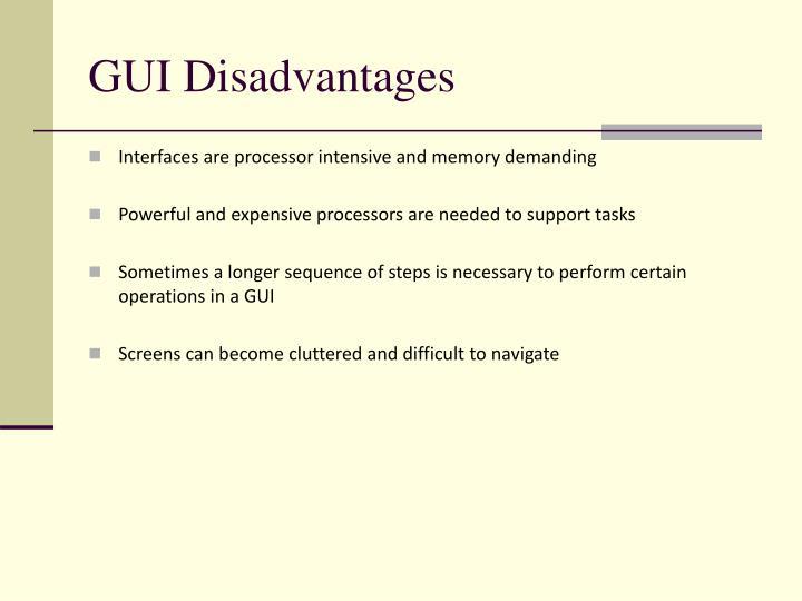 GUI Disadvantages
