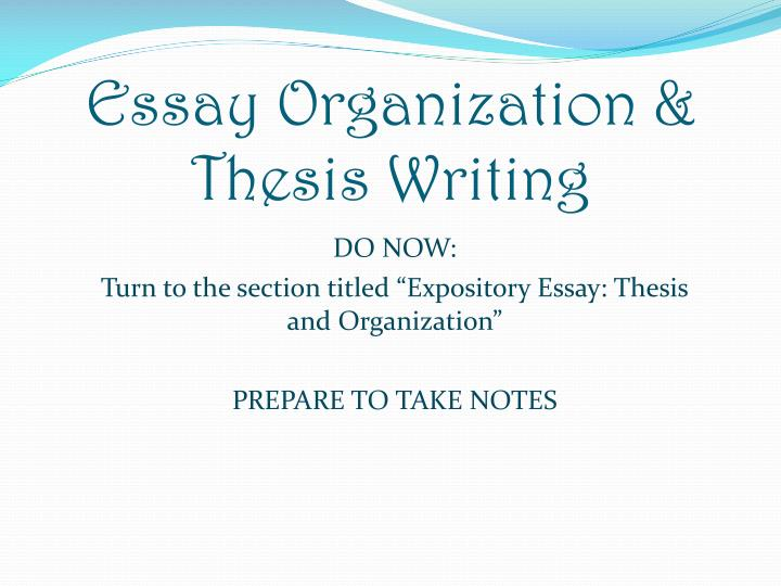 Essay Organization & Thesis Writing