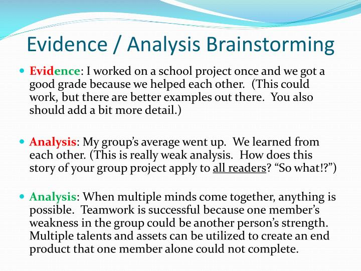 Evidence / Analysis Brainstorming