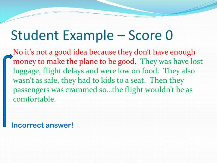 Student Example – Score 0