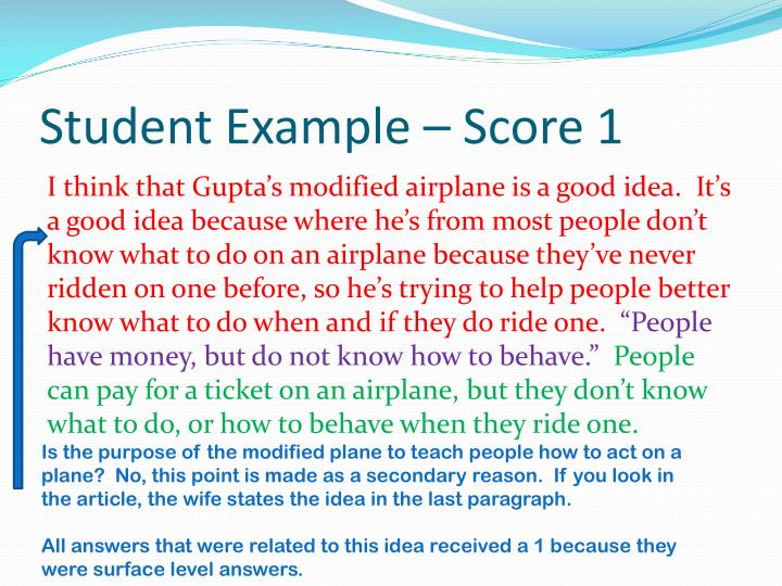 Student Example – Score