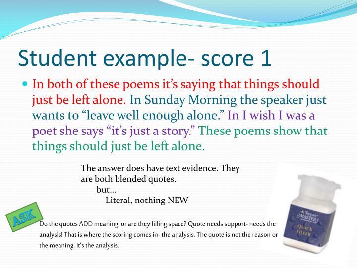 Student example- score 1