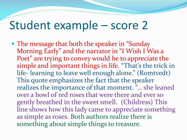 Student example – score 2