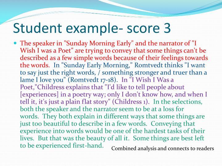 Student example- score 3