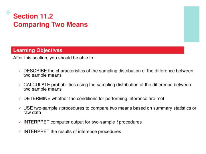 Section 11 2 comparing two means