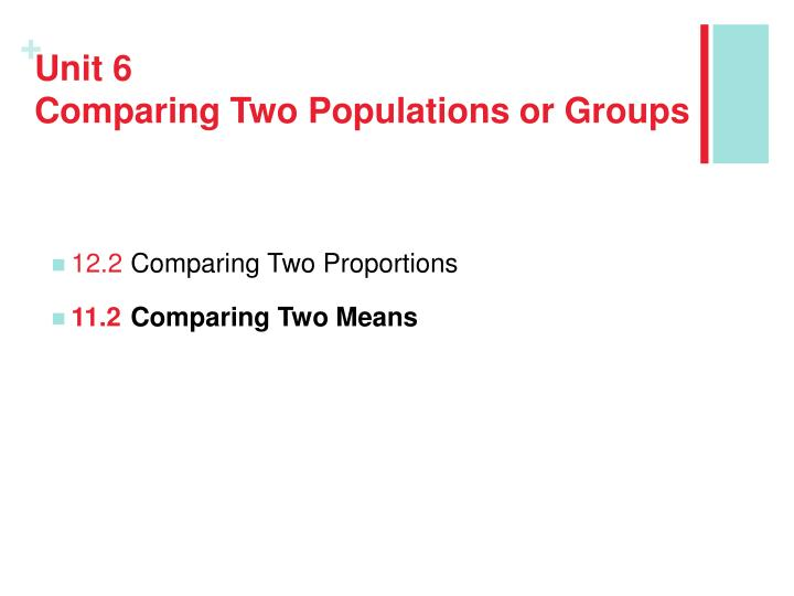 Unit 6 comparing two populations or groups