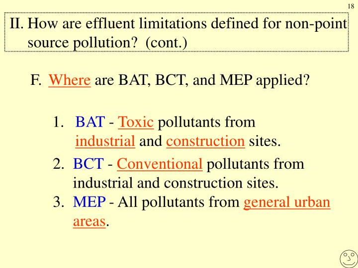 II.How are effluent limitations defined for non-point source pollution?  (cont.)