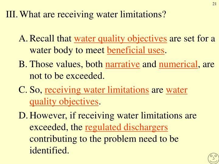 III.	What are receiving water limitations?