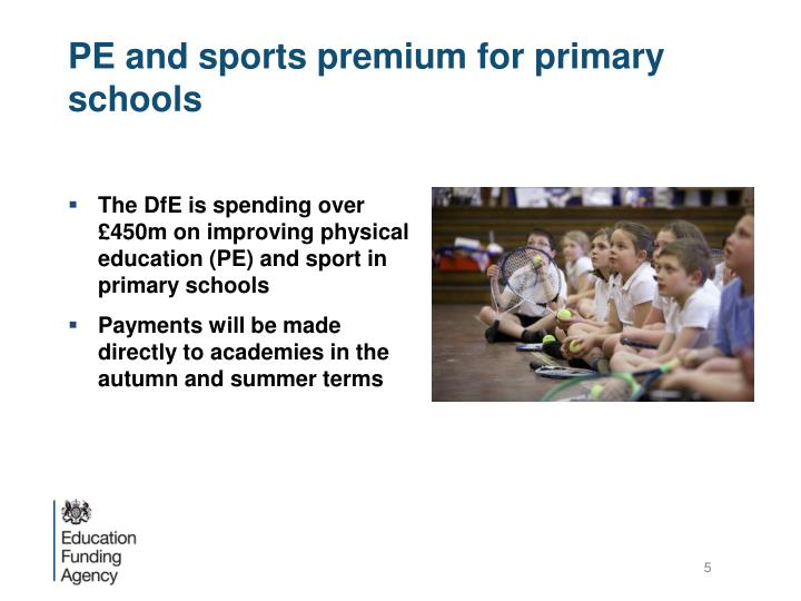 PE and sports premium for primary schools
