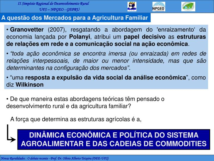 A questão dos Mercados para a Agricultura Familiar
