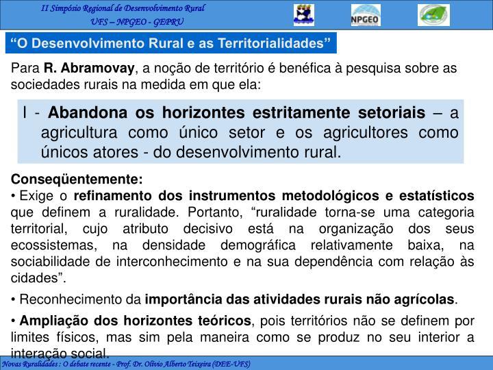 """""""O Desenvolvimento Rural e as Territorialidades"""""""
