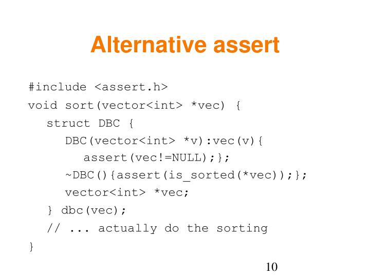 Alternative assert