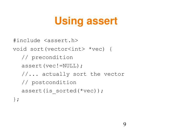 Using assert