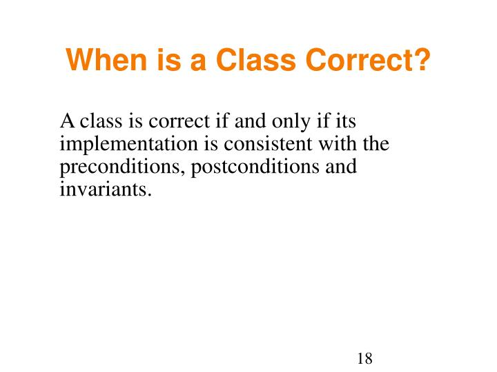 When is a Class Correct?