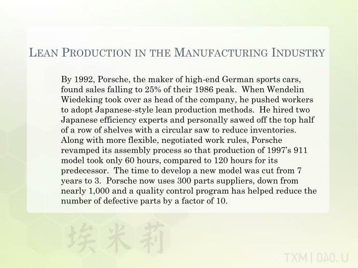 Lean Production in the Manufacturing Industry