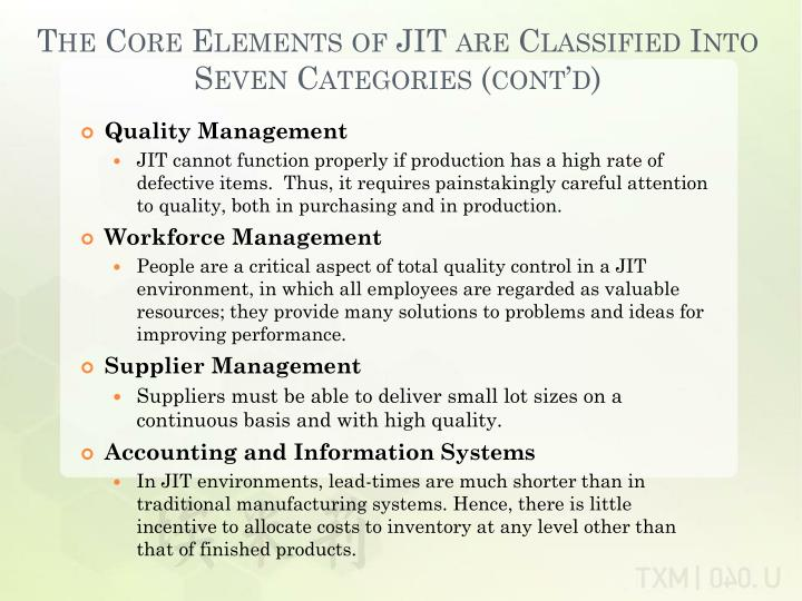 The Core Elements of JIT are Classified Into Seven Categories (cont'd)