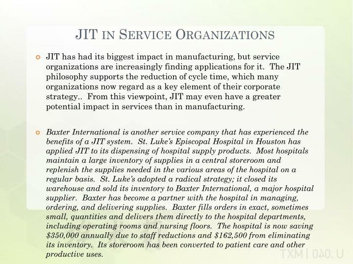 JIT in Service Organizations