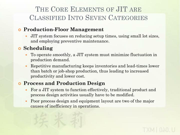 The Core Elements of JIT are Classified Into Seven Categories