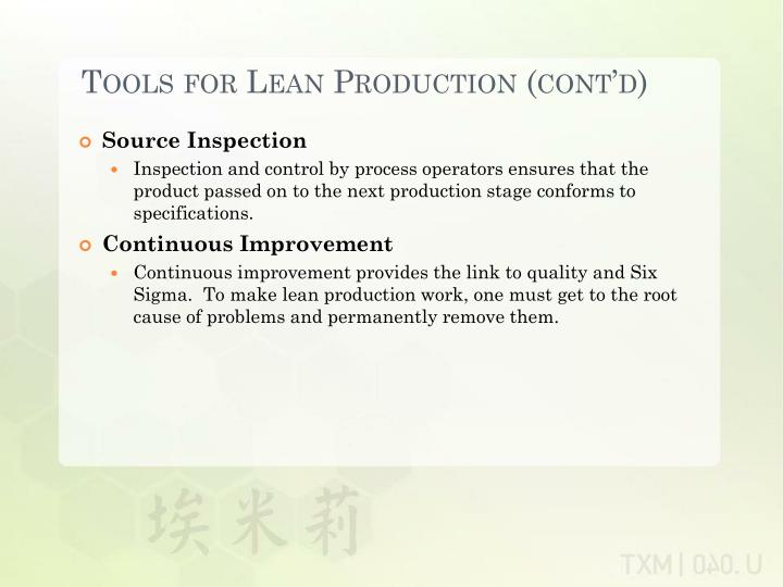 Tools for Lean Production (