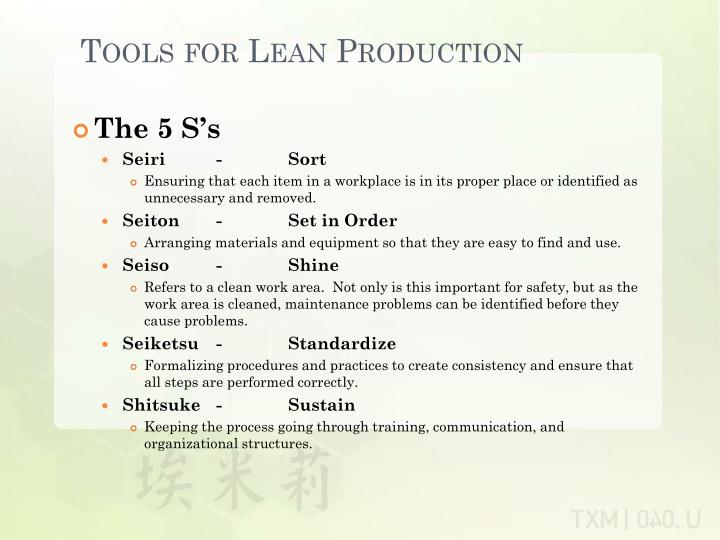 Tools for Lean Production