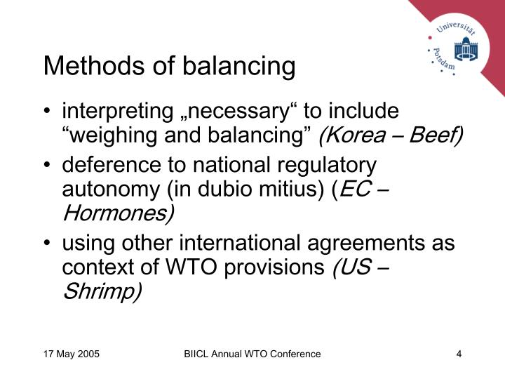 Methods of balancing