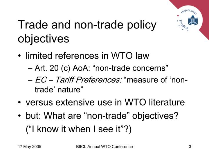 Trade and non trade policy objectives