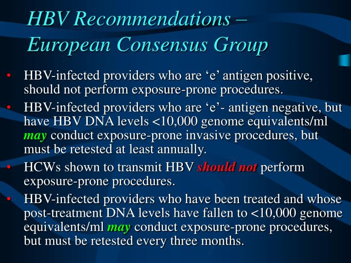 HBV Recommendations – European Consensus Group