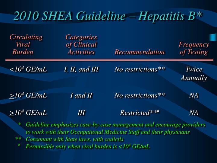 2010 SHEA Guideline – Hepatitis B*