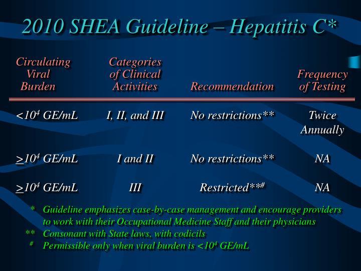 2010 SHEA Guideline – Hepatitis C*