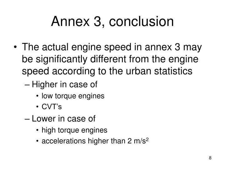 Annex 3, conclusion
