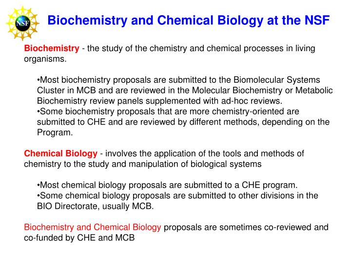 Biochemistry and Chemical Biology at the NSF
