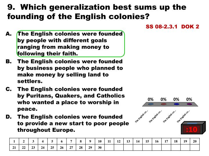 9.  Which generalization best sums up the founding of the English colonies?