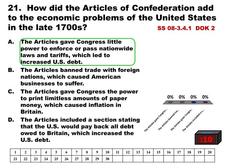 21.  How did the Articles of Confederation add to the economic problems of the United States in the late 1700s?
