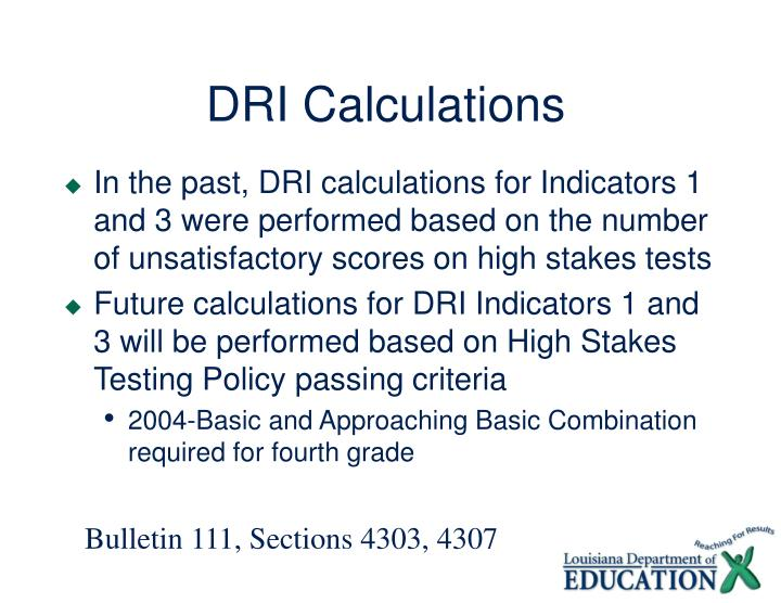 DRI Calculations