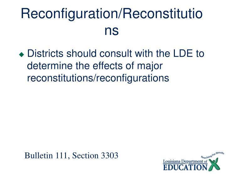 Reconfiguration/Reconstitutions