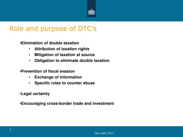 Role and purpose of DTC's
