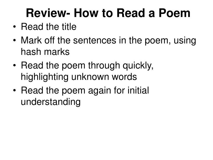Review- How to Read a Poem