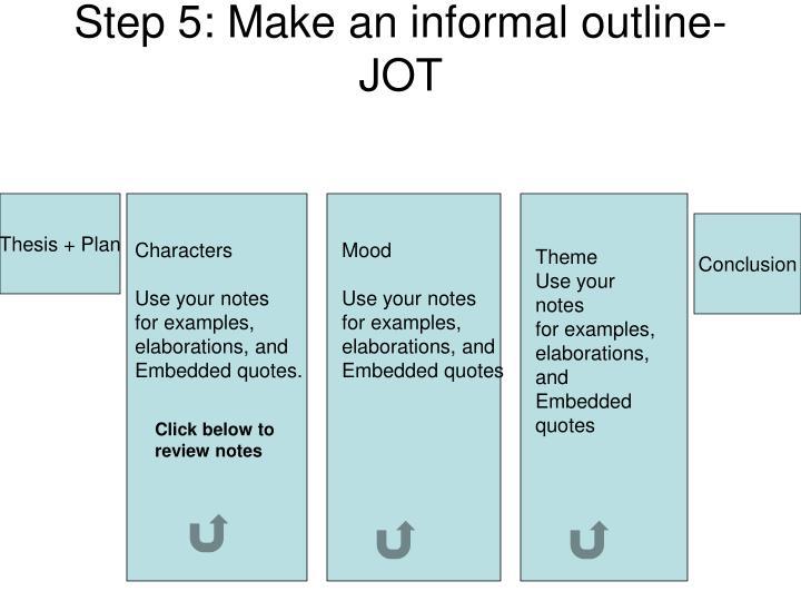 Step 5: Make an informal outline- JOT
