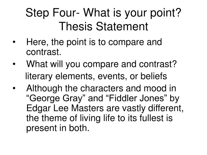 Step Four- What is your point?  Thesis Statement