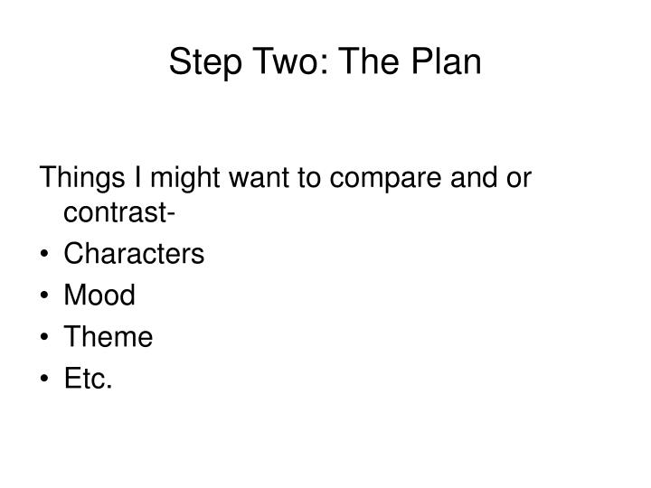 Step Two: The Plan